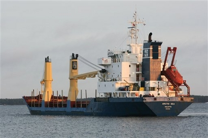 December 2008 AP photo of the Arctic Sea cargo ship in Kotka, Finland.