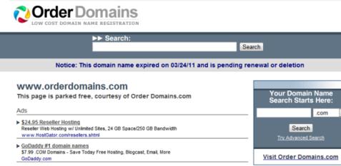 Screenshot of orderdomains.com website.