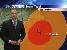 WRAL News photo of Meterologist Mike Maze talking about tthe winds from Irene.  This hurricane is freaking HUGE!!
