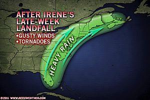 Irene's post-landfall path
