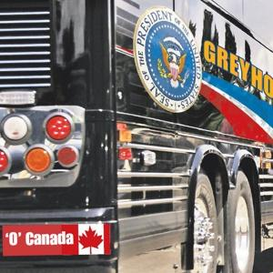PBO's bus bought by the Secret Service; contract went to company based in Tennesse, but made in Canada--so the sticker was allowed to stay.